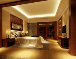 spacious modern bedroom  with wooden floor fully furnished 3d