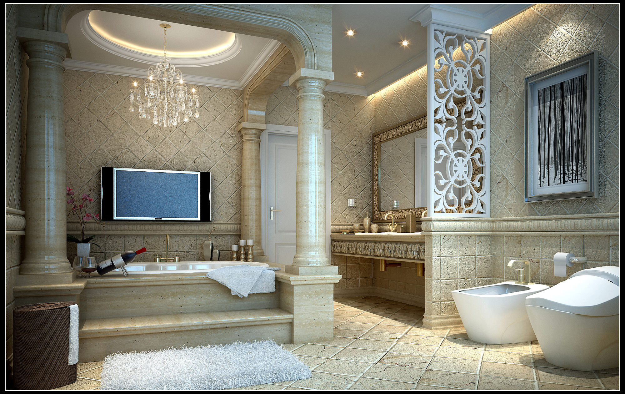Luxurious Bathroom Fully Furnished And Decorated 3d Model Max 1