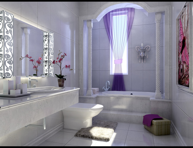 modern bathroom fully furnished and decorated 3d model max tga 1