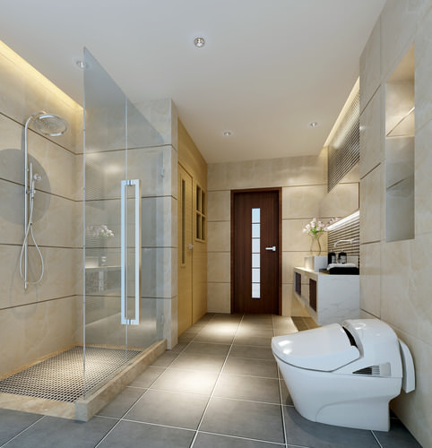 modern bathroom fully furnished and decorated 3d model max 1