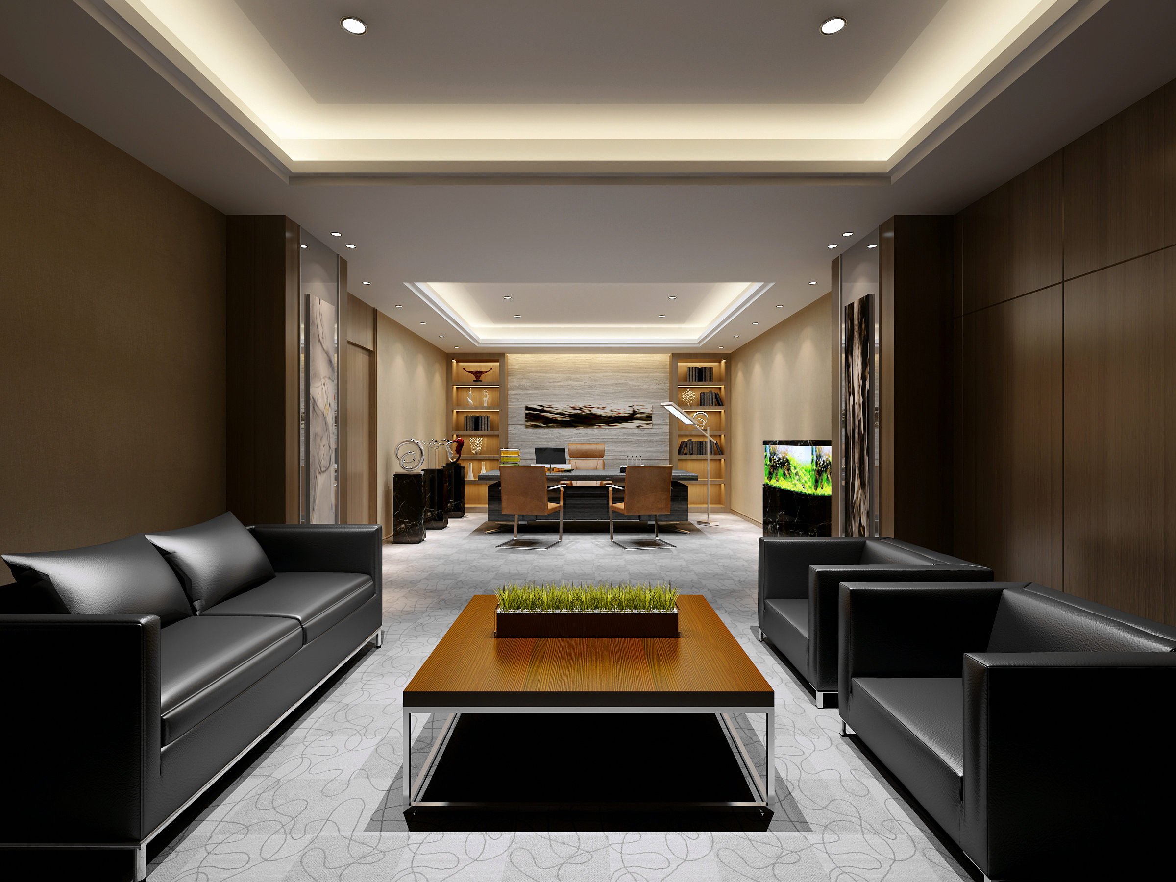 Luxurious office waiting room with marble 3d model max for Luxurious office interiors