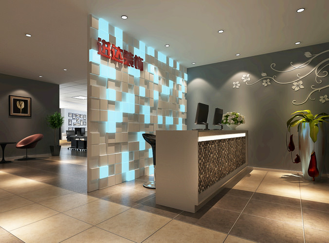 Modern living room interior 3ds max scene with all furniture 3d models - 3d Model Modern Reception Room Cgtrader