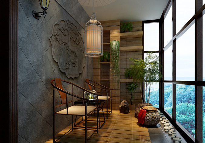 chinese style balcony 3d model max 1