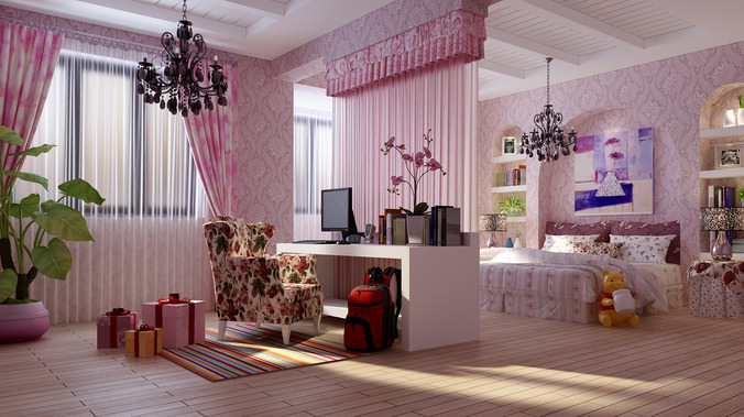 Kids Bedroom With Chair 3d Model