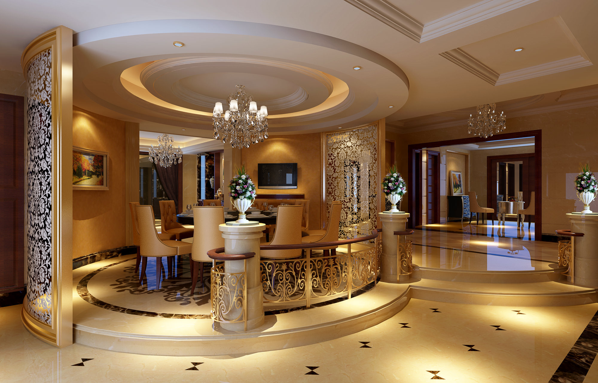 Luxurious Dining Room With Marble Floor Fu 3D Model
