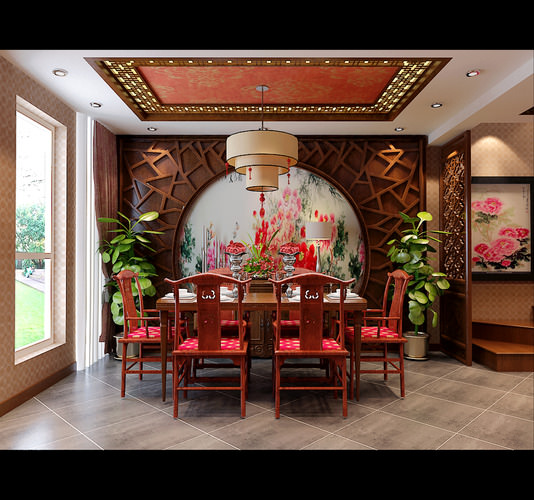 Comfortable dining room decorated in chineese style 3d for Comfortable dining room