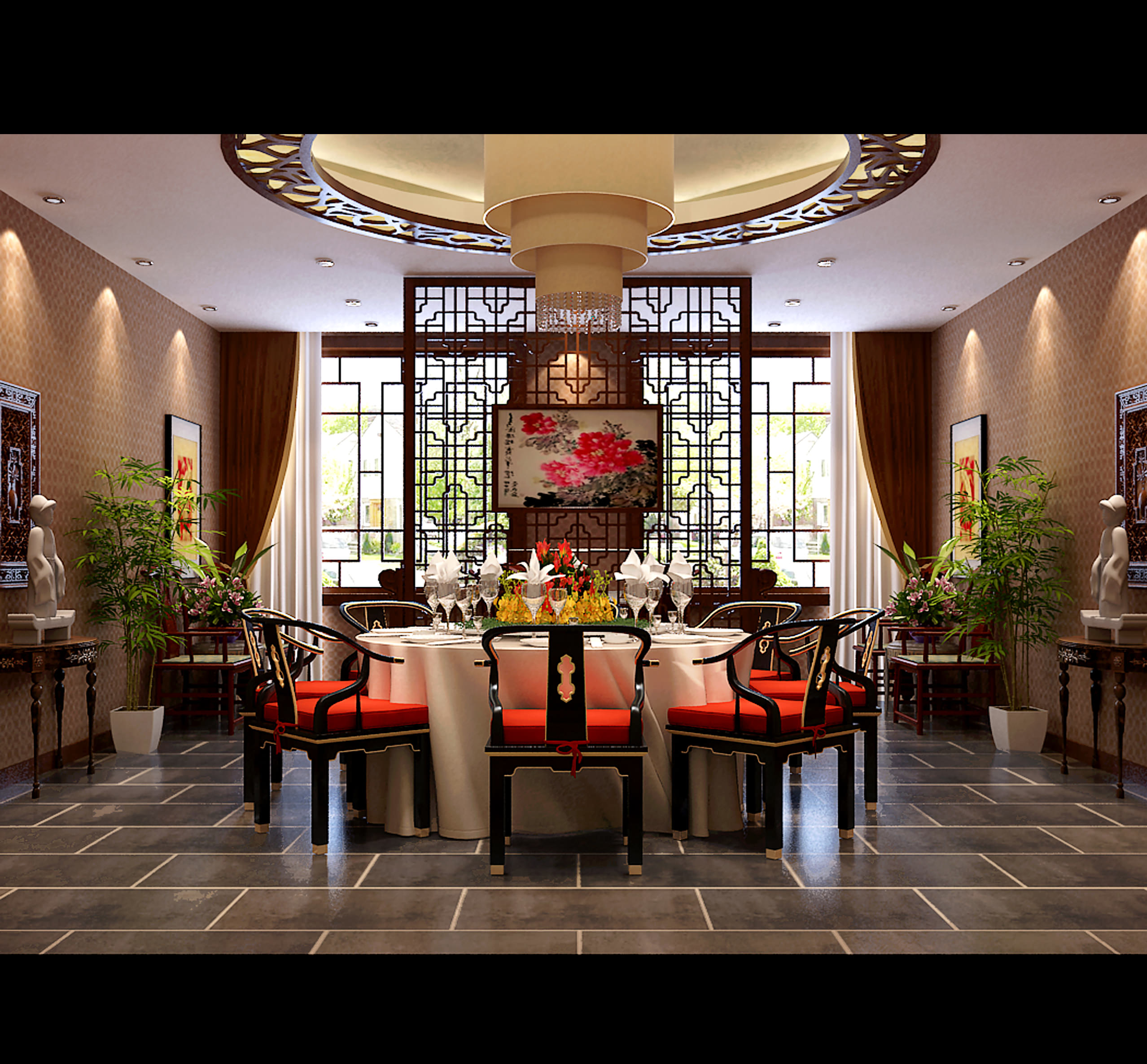 Modern Traditional Dining Room: Spacious Modern Chinese Style Dining Room 3D Model .max