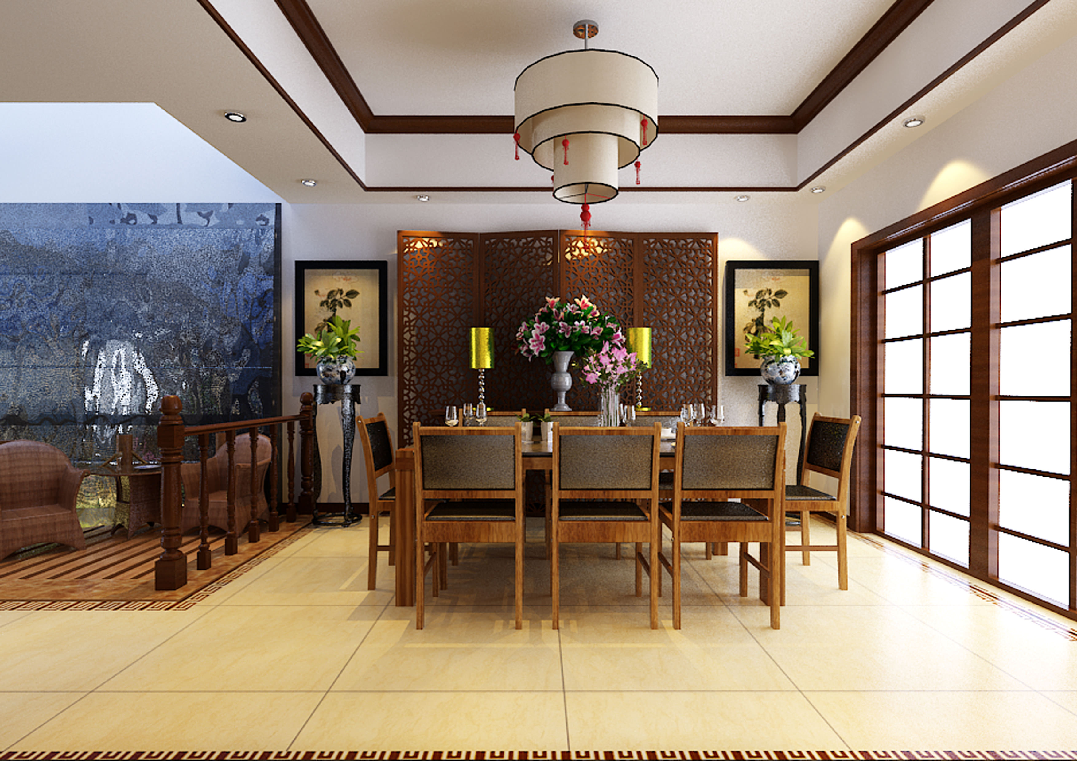 ... Chinese Style Dining Room Fully Decorated 3d Model Max Tga ...