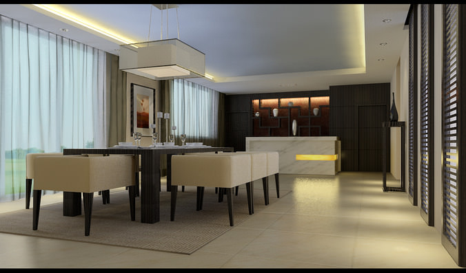 spacious modern dining room fully furnished 3d model max 1