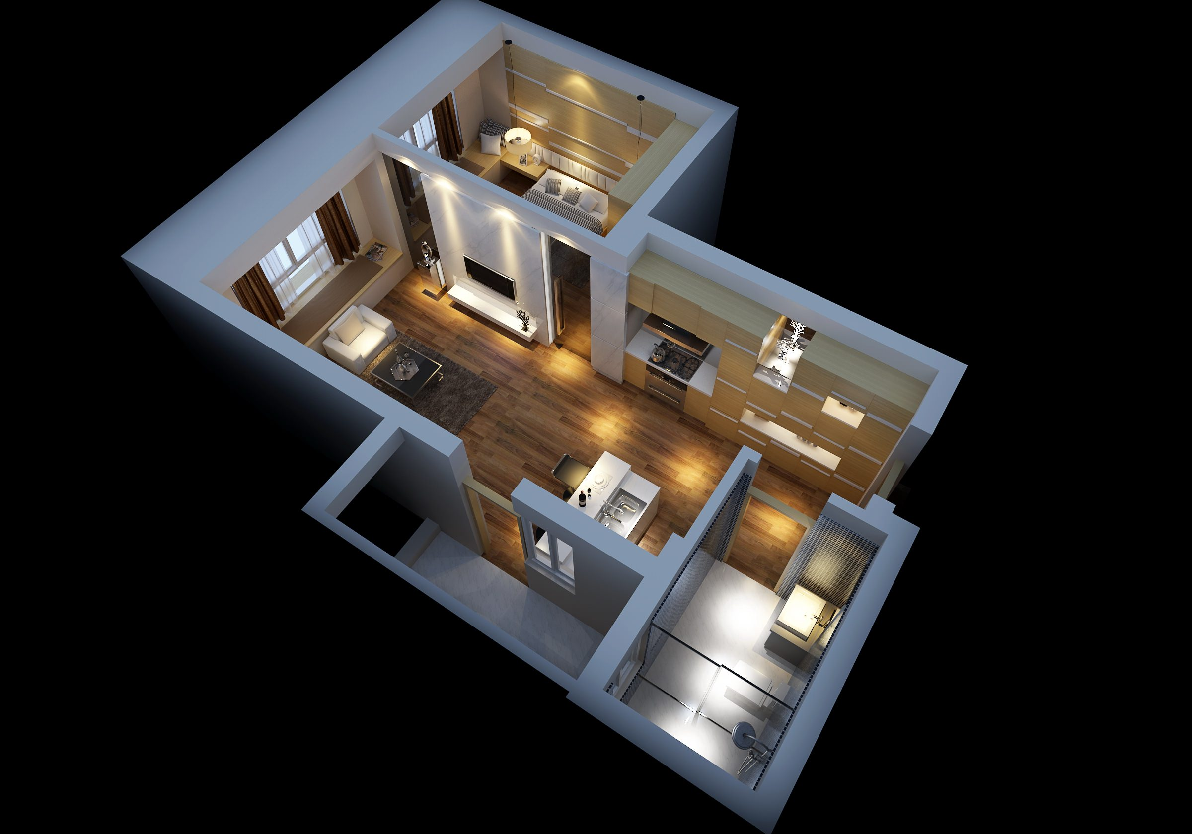 Modern House Interior With Wooden Floor Fully Furnished 3D Model ... - ^