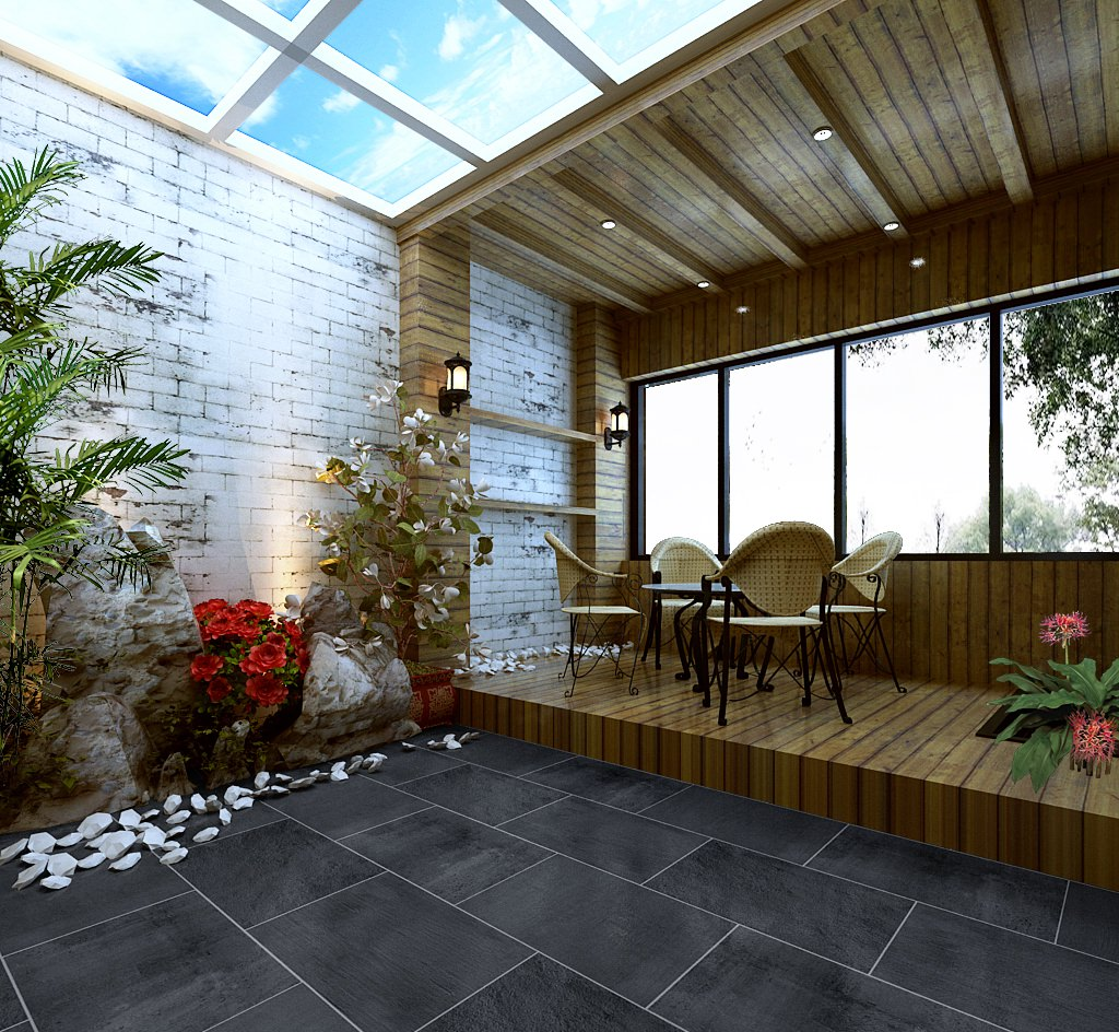 modern wooden terrace 3d model max