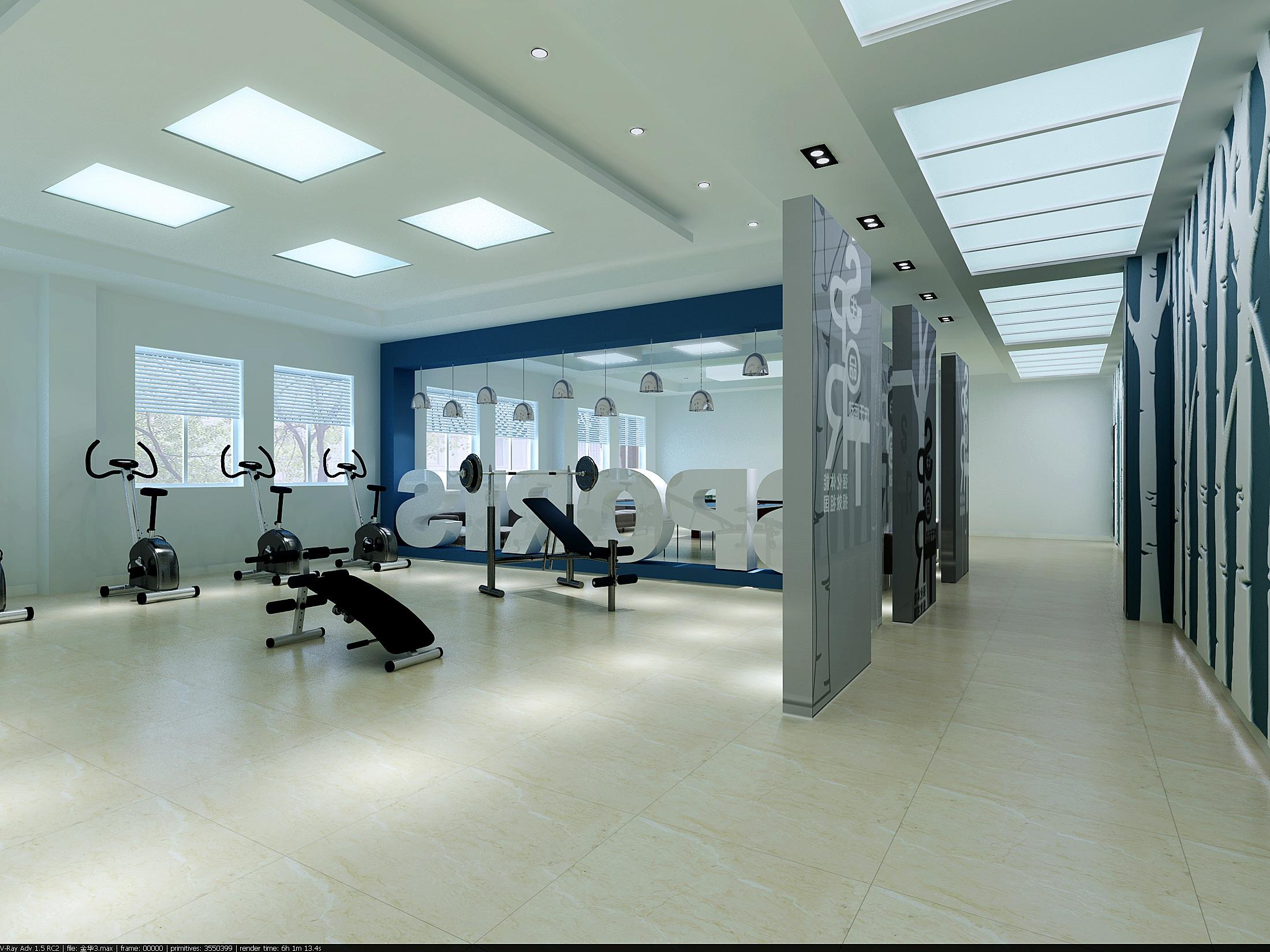 Modern gym interior 3d model max for Modern gym design ideas