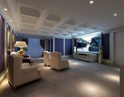 Modern Home Cinema Room 3D model visualizations