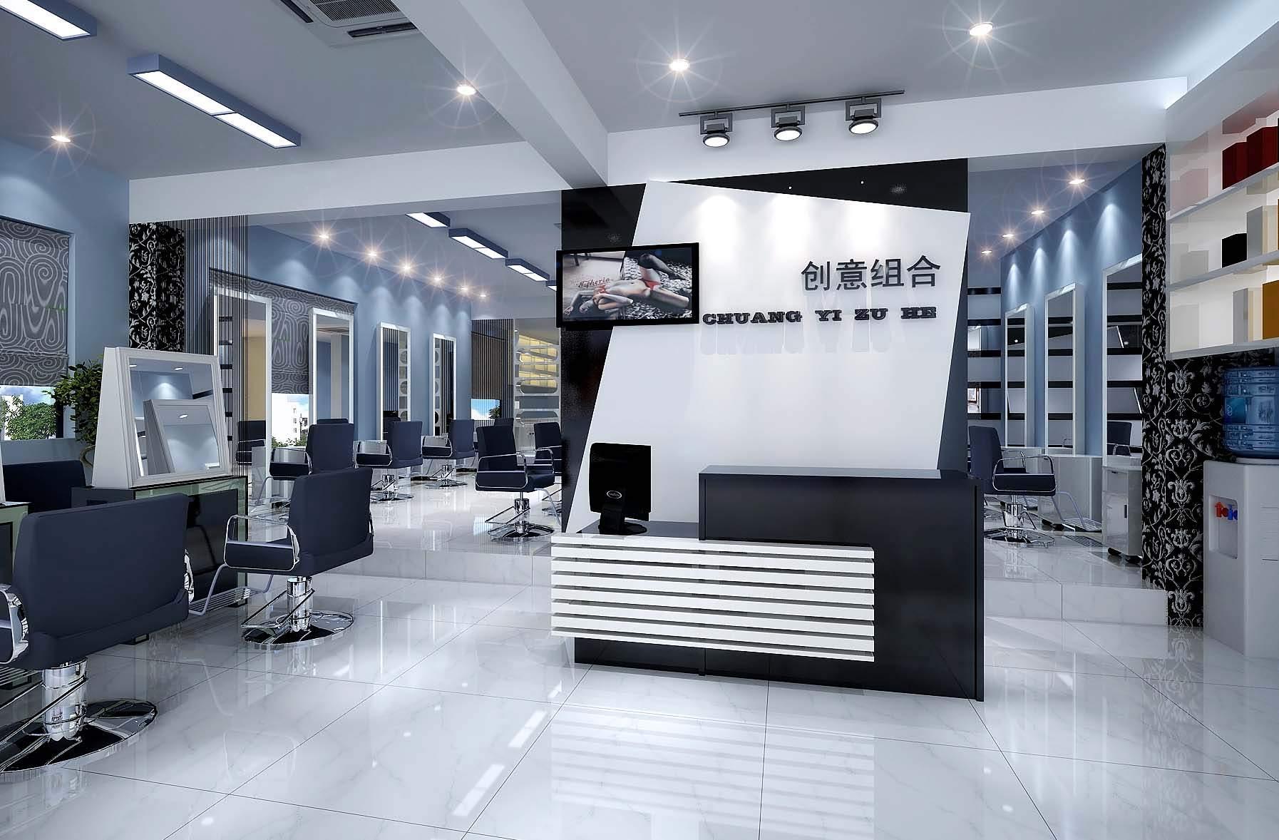 Modern salon interior 3d model max for A design and color salon