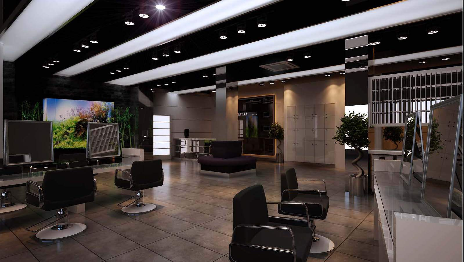 Modern salon interior 3d model max for Photo salon design moderne
