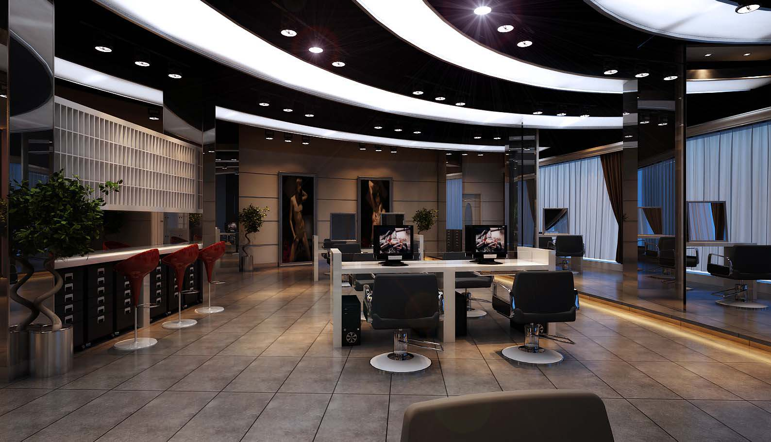 Modern salon interior 3d model max for Photo salon moderne
