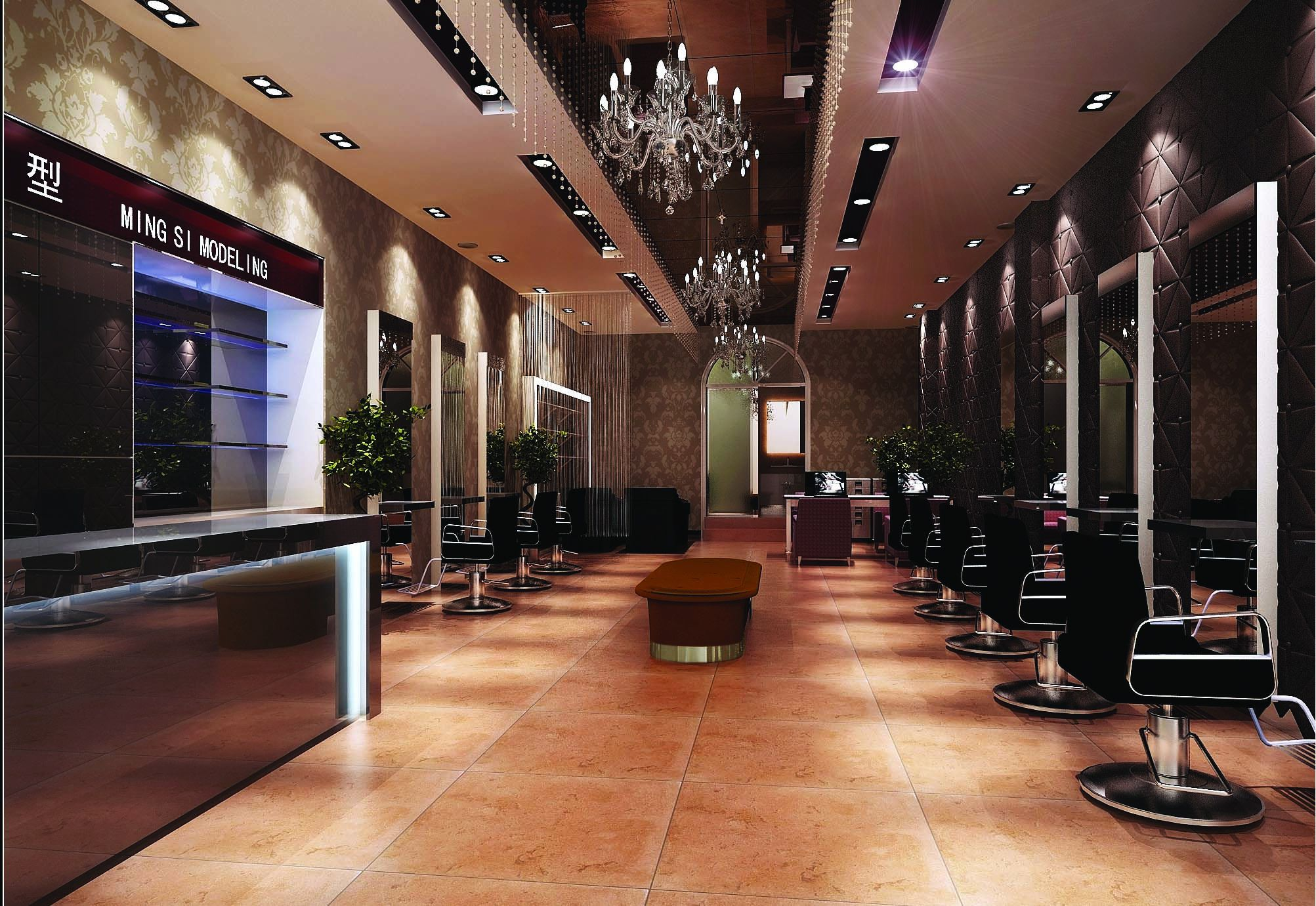 Modern salon interior 3d model max for Model salon