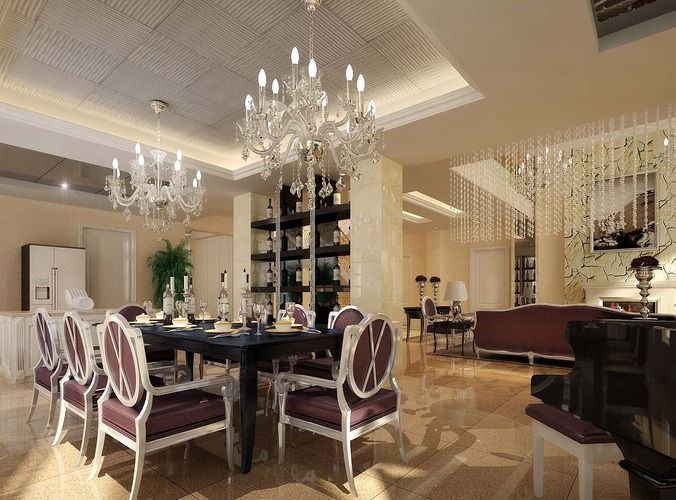 Collection Luxurious Dining Room Collection3D model