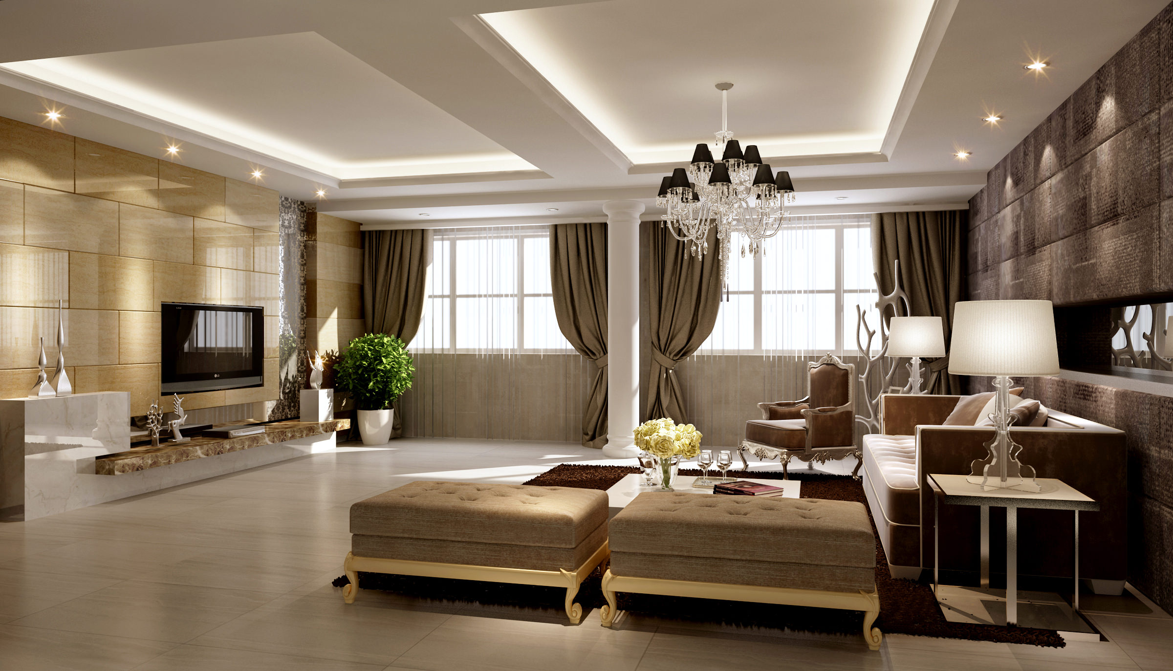 Beautiful ... Collection Living Room And Bedroom Collection 3d Model Max 8 ...