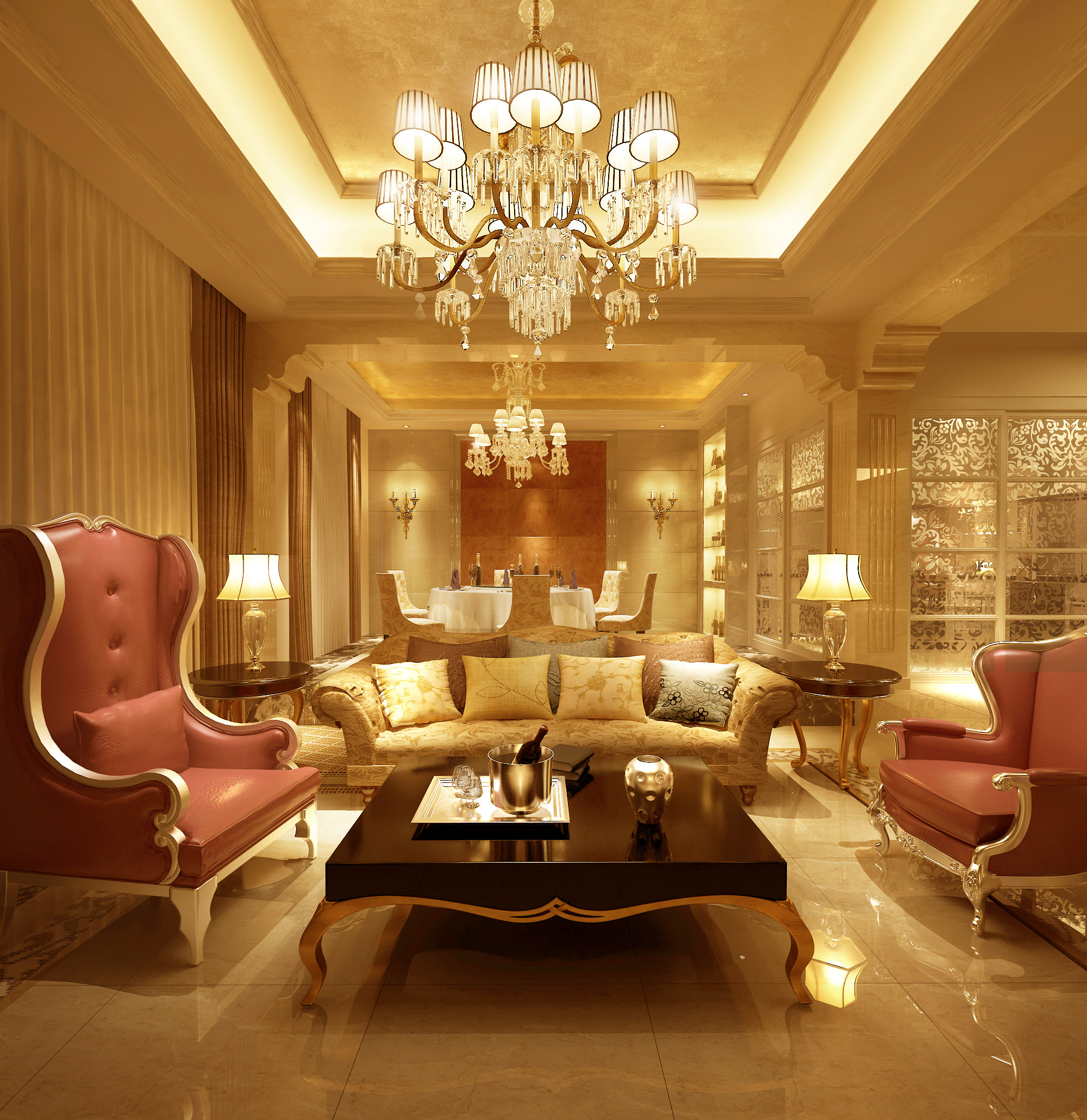 Luxury House Interior Living Room: Collection Living Room And Bedroom Collect... 3D Model