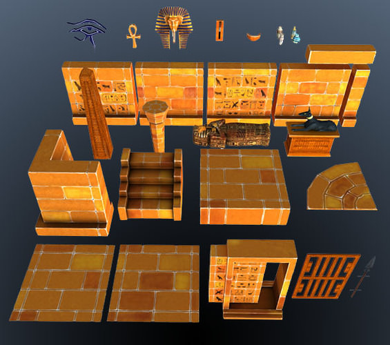 3D Model Egypt Pyramid Maze Walls VR / AR / Low-poly OBJ