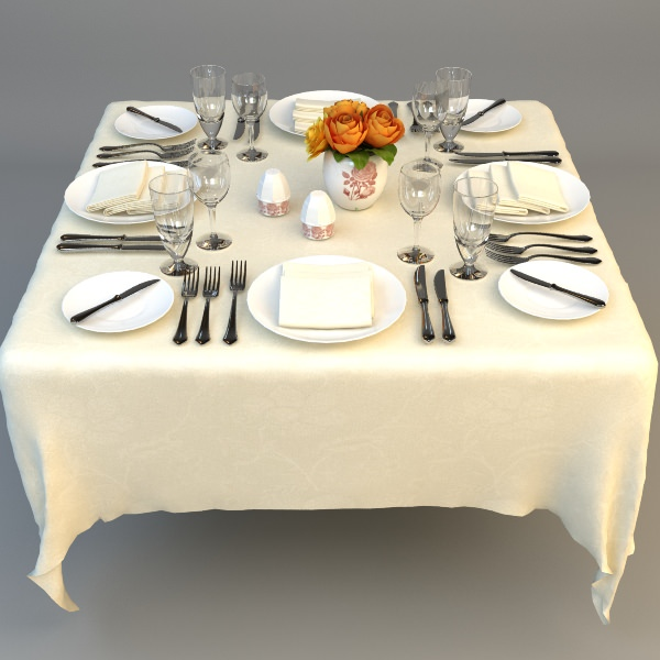 dining table place settings 3d model max obj 3ds fbx mtl 1 ... & 3D model Dining Table Place Settings | CGTrader