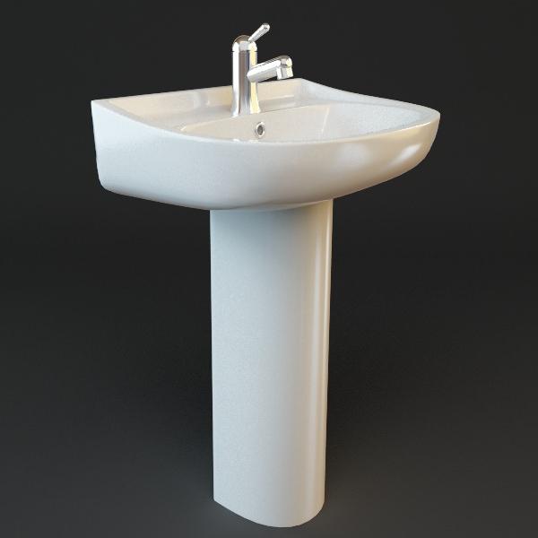 Bathroom Pedestal Sink 3d Model Max Obj 3ds Fbx Mtl 1 ...