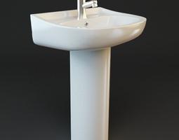 3D Bathroom Pedestal Sink