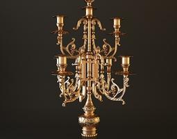 Ornate Antique Brass Candelabrum 3D model