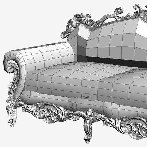 Ornate Baroque Sofa Model Max Obj S Fbx Mtl 9