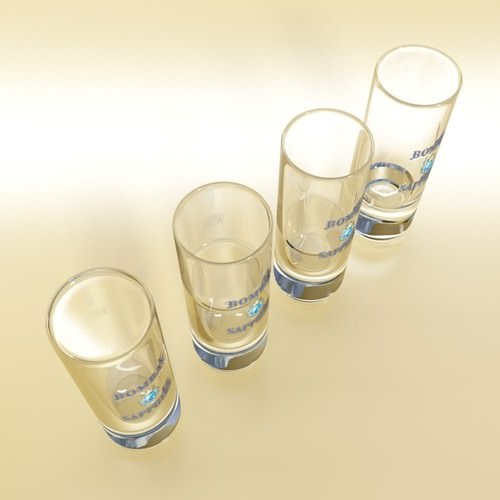 Realistic Gin Shot Glass 3D Model .max .obj .3ds .fbx