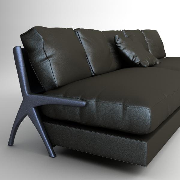 Contemporary Black Leather Sofa 3d Model Max Obj 3ds Fbx Mtl 1 ...