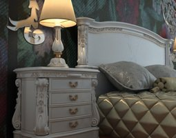 Baroque Nightstand Curbstone 3D Model