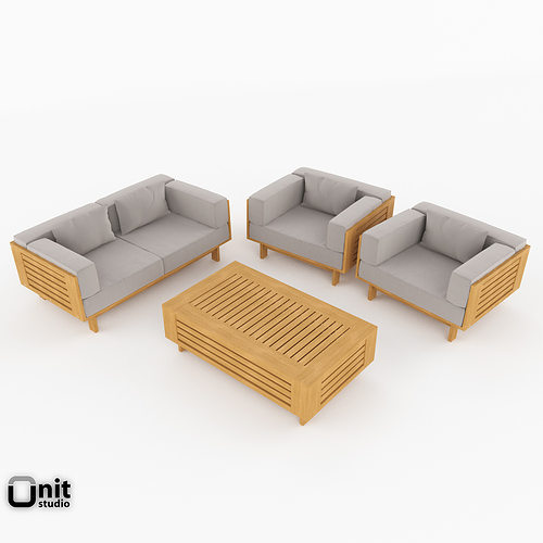 Skargaarden falsterbo exterior lounge set 3d model max obj for Outdoor furniture 3d max