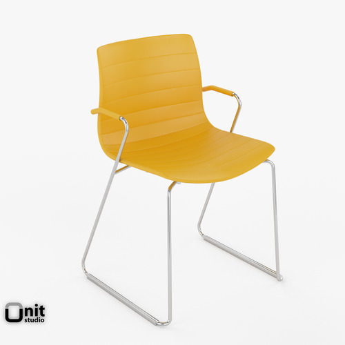 Catifa 46 Leather Technical Sled Chair Arper3D model