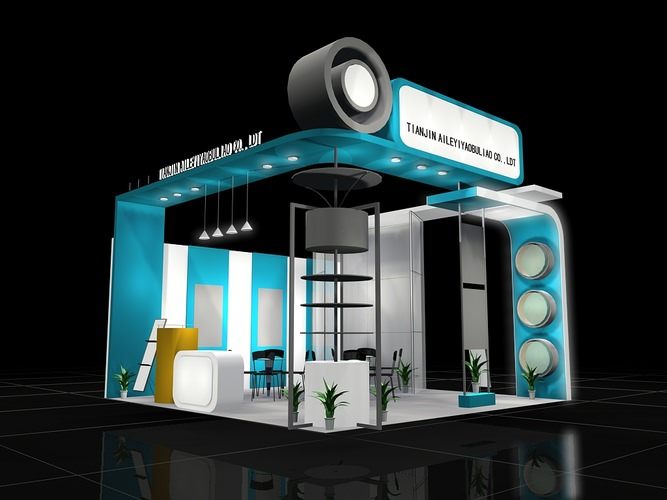 Exhibition Stand Render : Trade exhibit booth d cgtrader