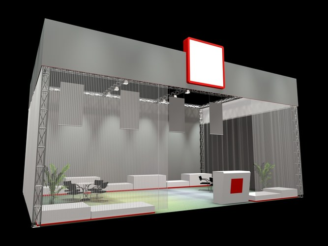 Exhibition Stand Interiors : Display d exhibition stand cgtrader