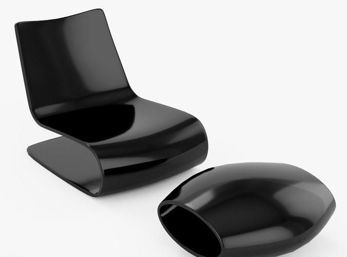 Novelle Vague Chair And Ottoman Porro 3d Model Max Obj 3ds