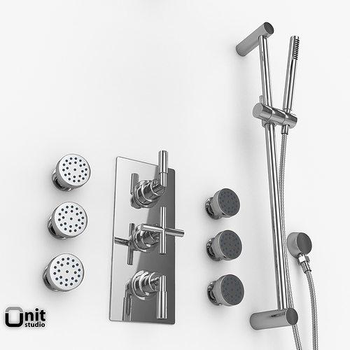 shower body massage helix hudson reed 3d model max obj 3ds fbx dwg. Black Bedroom Furniture Sets. Home Design Ideas