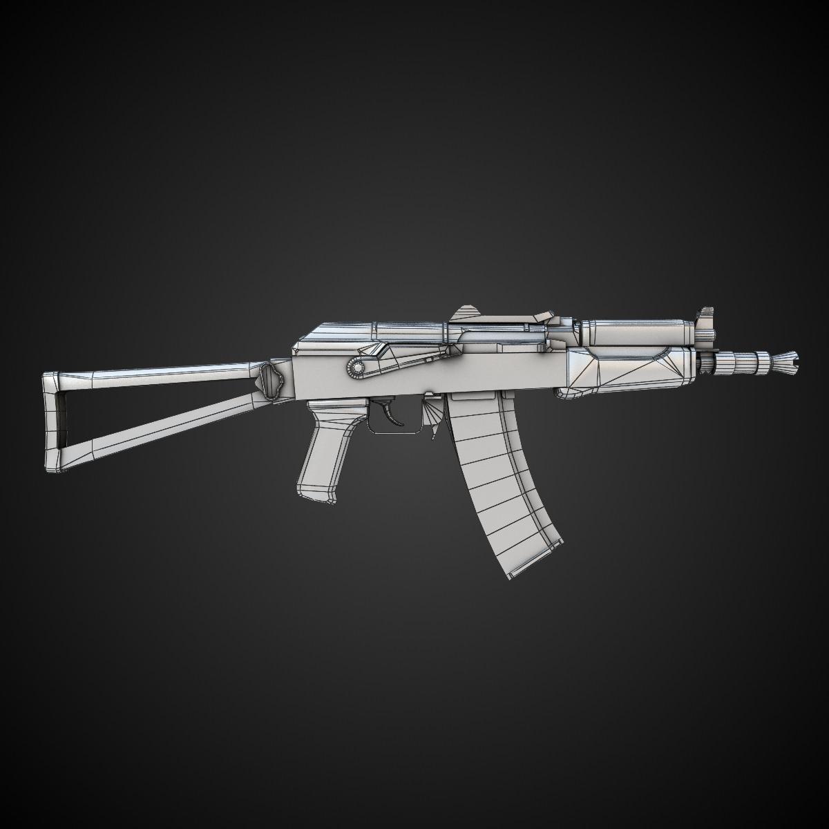 AK47 Assault Rifle Hi-Res 3D Model MAX OBJ FBX LWO LW LWS