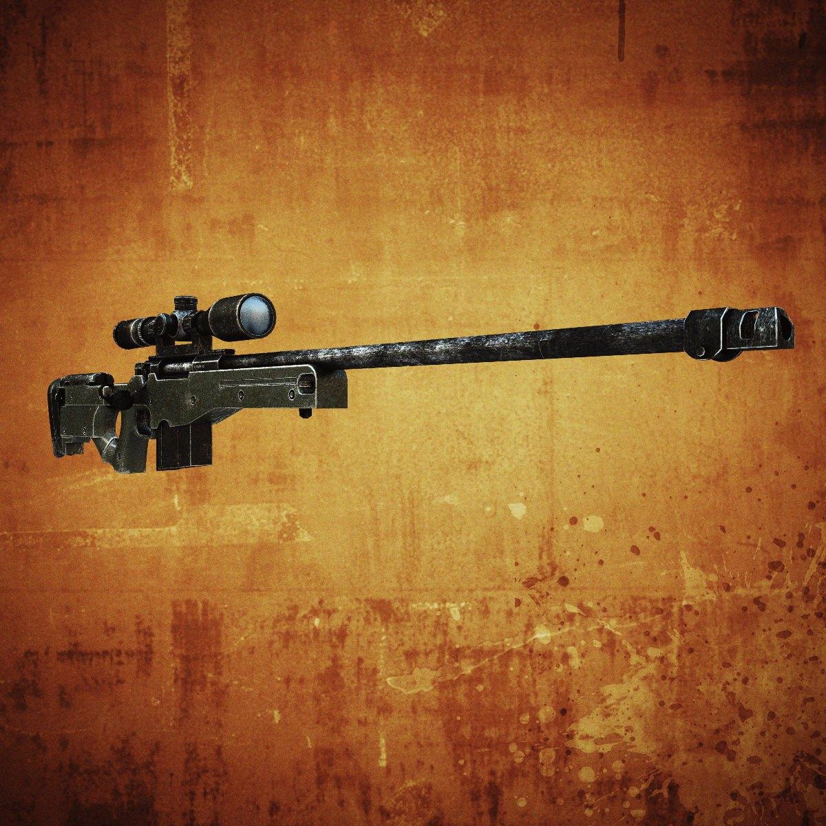 AWM Sniper rifle 3D Model Game ready .max .obj .fbx .lwo ...