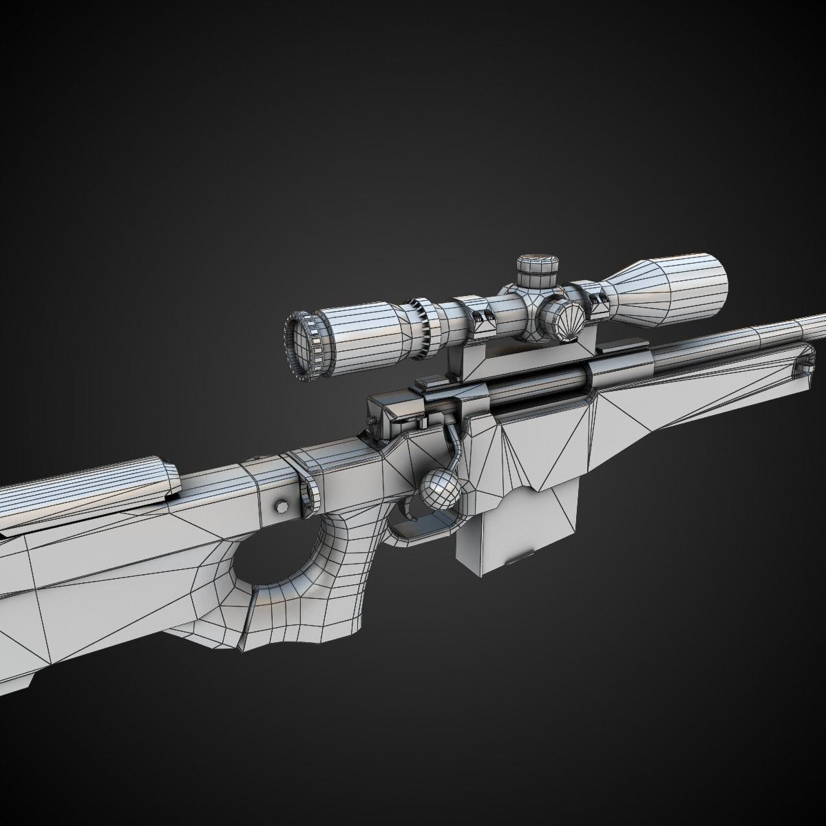 AWM Sniper Rifle 3D Model Game Ready Max Obj Fbx Lwo