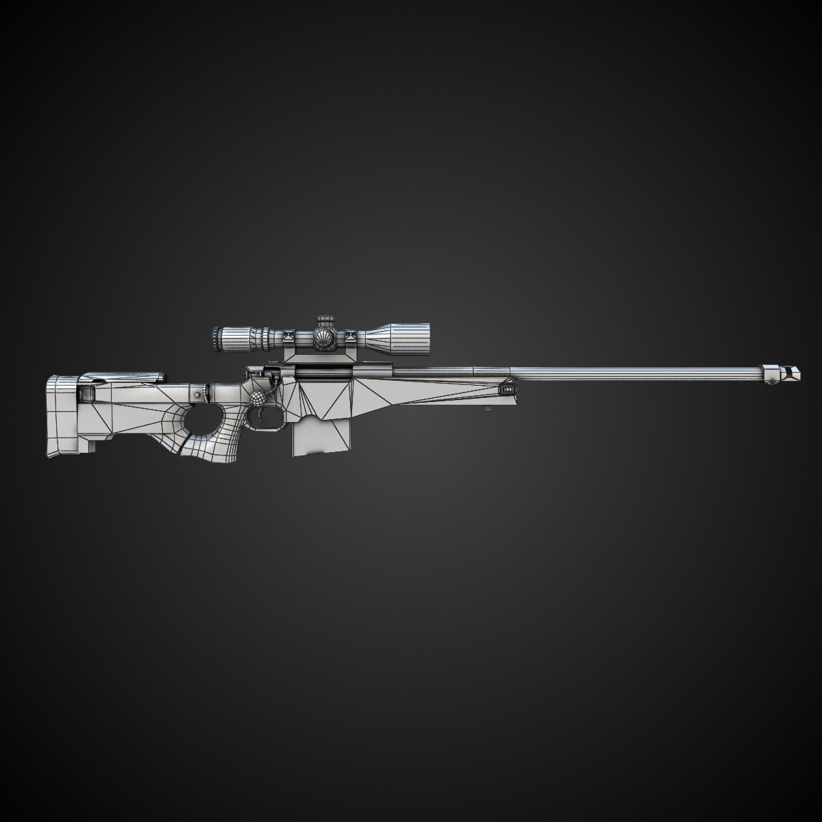 Awm Sniper Rifle 3d Model Game Ready Max Obj Fbx Lwo