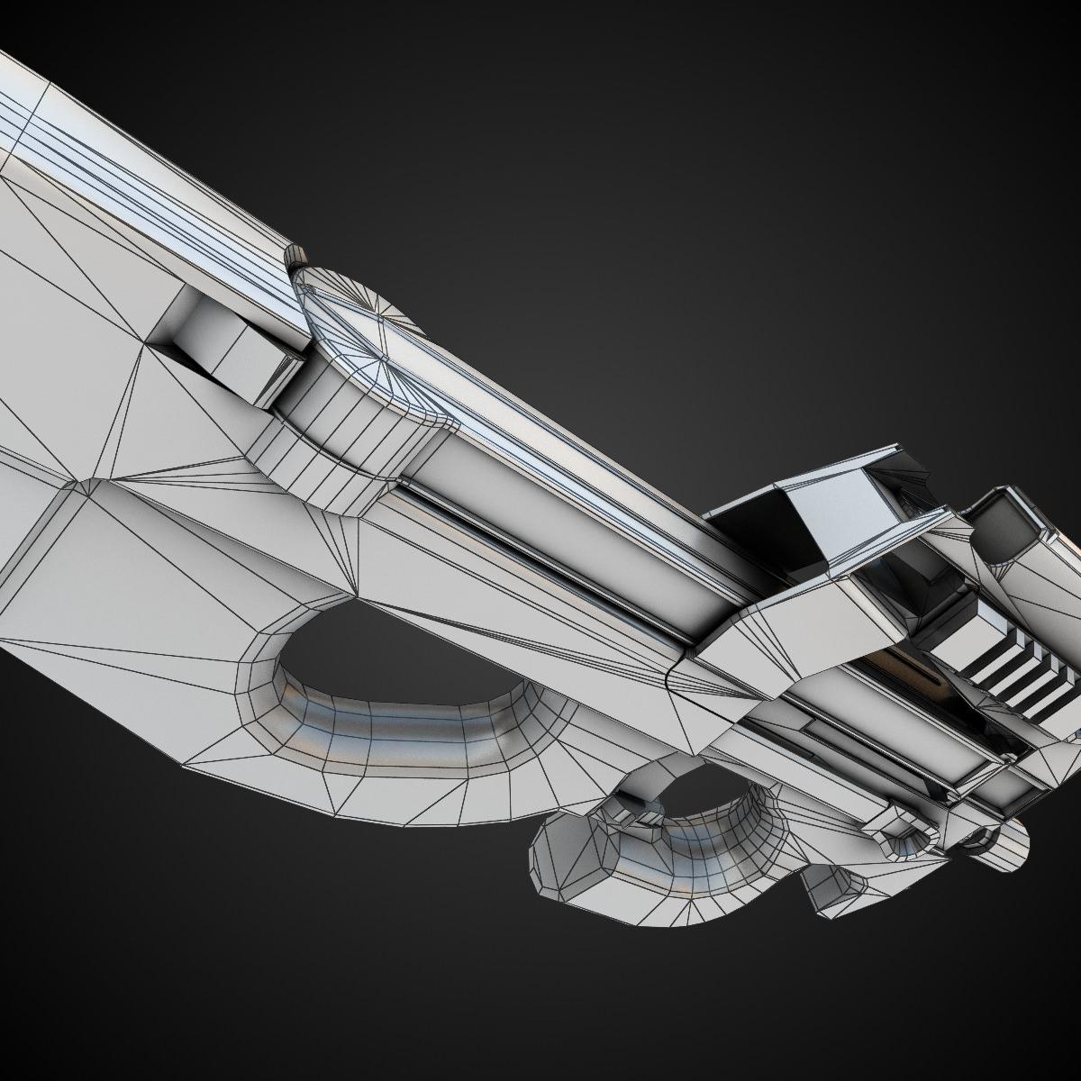 FN P90 SMG 3D Model Game Ready .max .obj .fbx .lwo .lw