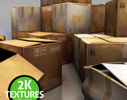 3d asset game-ready cardboard boxes