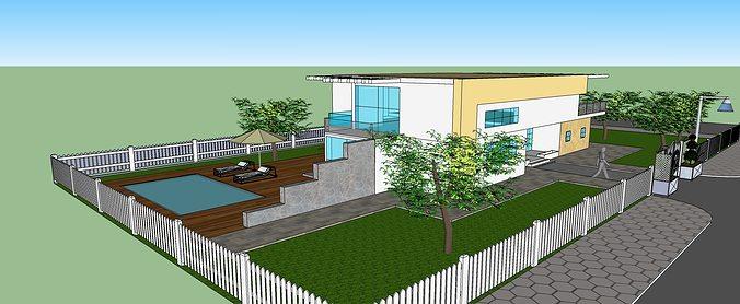 3d house project 3d model skp 1