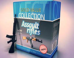 Assault Rifles collection 3D Model