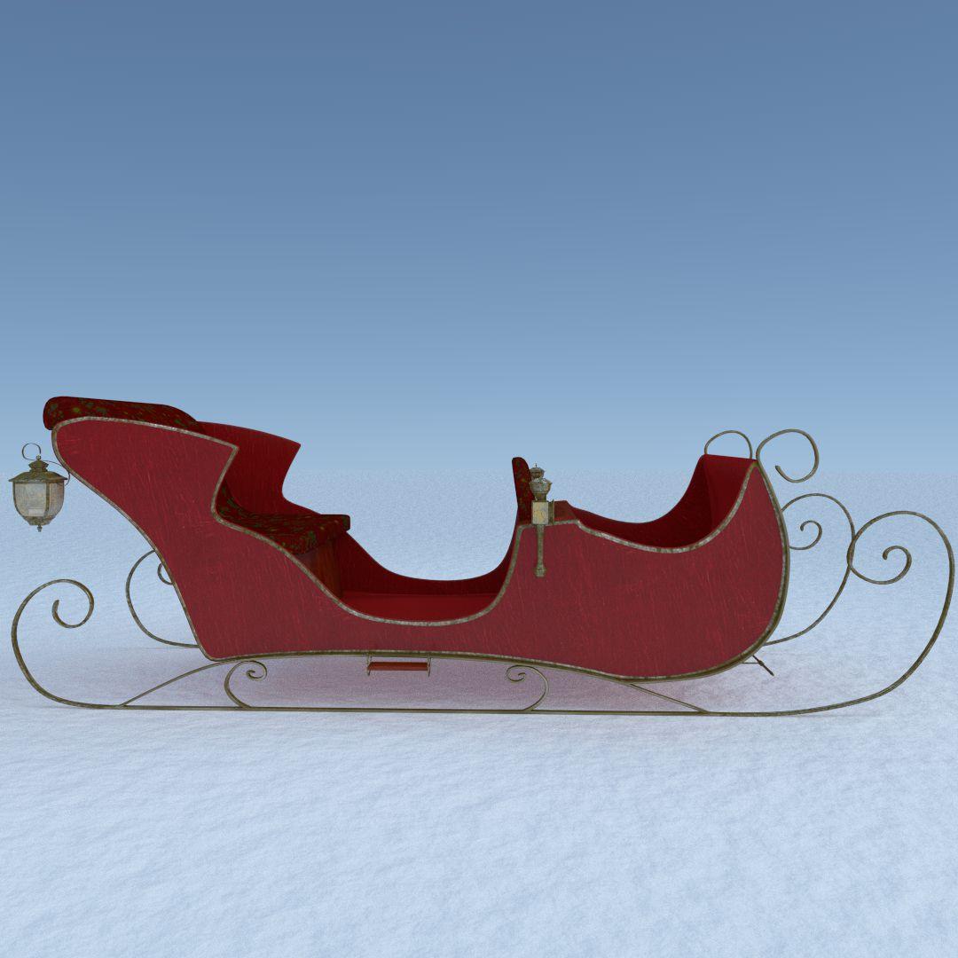 Santa Sleigh D Model Fbx Dxf Obj Blend Stl Cd B A F E F F Ac Ed