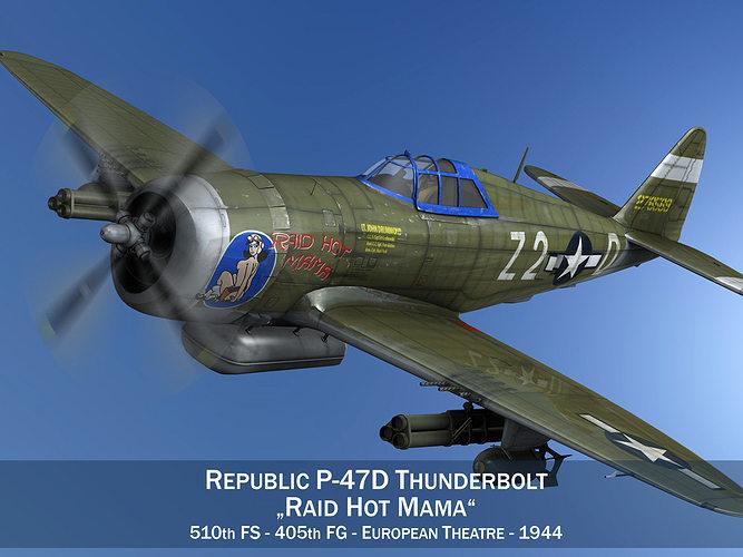 republic p-47d thunderbolt - raid hot mama 3d model obj mtl 3ds fbx c4d lwo lw lws 1
