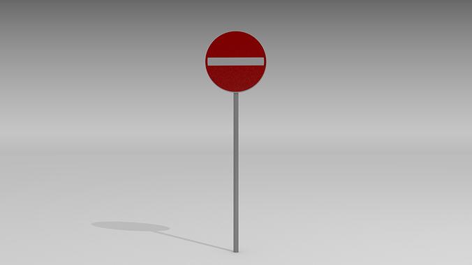 do not enter sign 3d model obj blend mtl 1